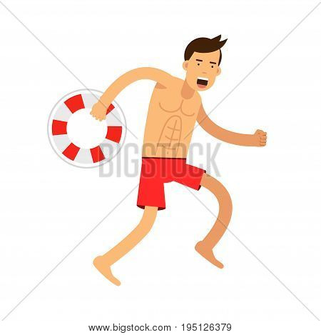 Lfeguard man character running with lifebuoy vector Illustration isolated on a white background