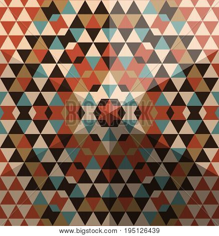Stylish pattern from multi-colored polygons with effect of 3d pyramids. Vector illustration.