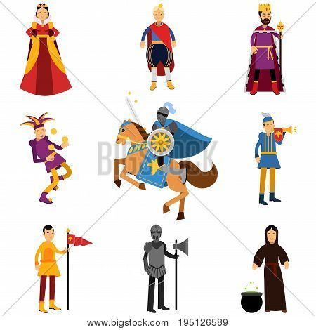 Medieval characters in the historical costumes of medieval Europe set of vector Illustrations isolated on white background