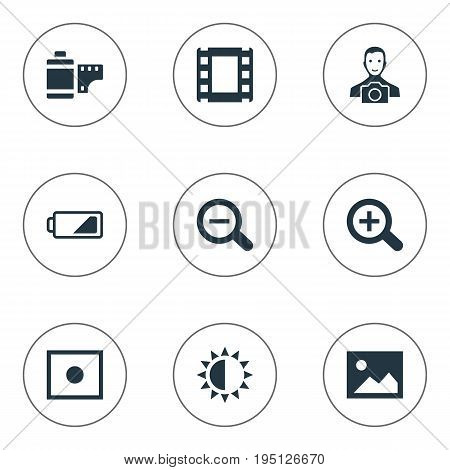 Vector Illustration Set Of Simple Photograph Icons. Elements Photo Tape, Rustication, Energy And Other Synonyms Augment, Cine-Film And Cameraperson.