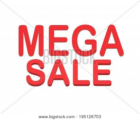 3D mega sale on white background. 3D mega sale sign.
