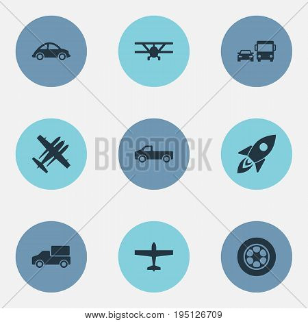 Vector Illustration Set Of Simple Shipment Icons. Elements Jeep, Airliner, Suv And Other Synonyms Truck, Car And Military.
