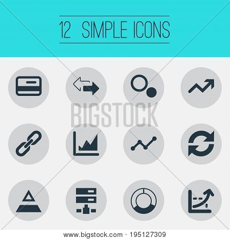 Vector Illustration Set Of Simple Data Icons. Elements Double Arrow, Refresh, Growth And Other Synonyms Chain, Process And Directions.