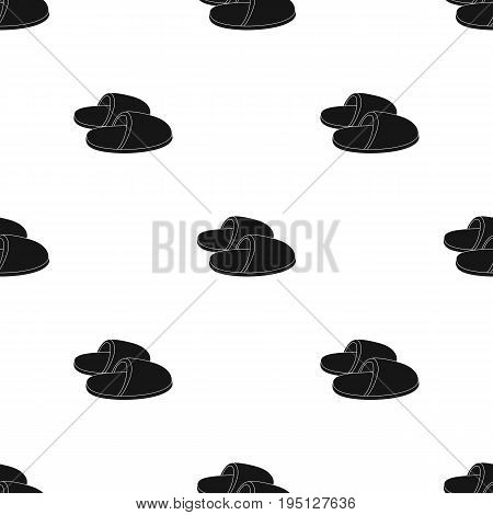 Slippers.Old age single icon in black style vector symbol stock illustration .