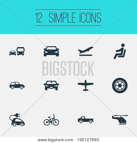 Vector Illustration Set Of Simple Shipment Icons. Elements Transport, Driver, Bike And Other Synonyms Suv, Transportation And Jeep.