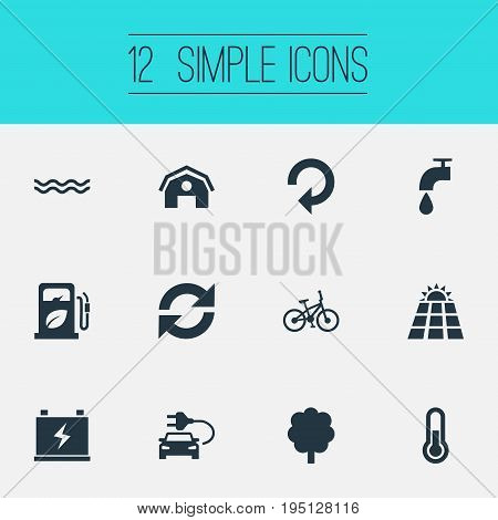 Vector Illustration Set Of Simple Power Icons. Elements Petrol, Naval, Leaking Faucet And Other Synonyms Recycle, Panel And House.