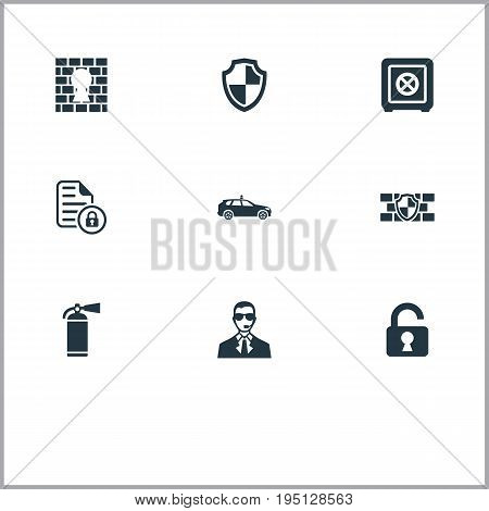 Vector Illustration Set Of Simple Secure Icons. Elements Security, Confidence, Shield And Other Synonyms Shield, Unlock And Police.