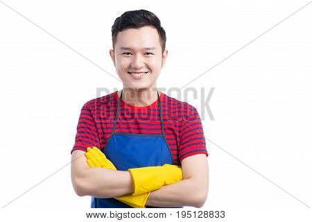 Handsome Smiling Asian Man Doing Housework. Isolated Over White.
