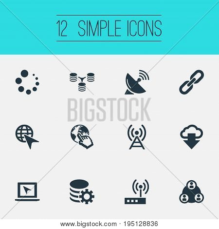 Vector Illustration Set Of Simple Web Icons. Elements Sputnik Signal, Server Relationship, Chain And Other Synonyms Antenna, Teamwork And Cloud.