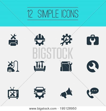 Vector Illustration Set Of Simple Support Icons. Elements Helmet, Technical Support, Renovation Equipment And Other Synonyms Support, Wrench And Renewal.