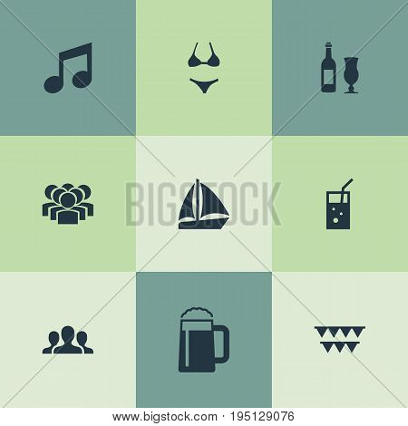 Vector Illustration Set Of Simple Banquet Icons. Elements Sail Yacht, Beachwear, Carbonated Drink And Other Synonyms Sailboat, Glass And Mug.