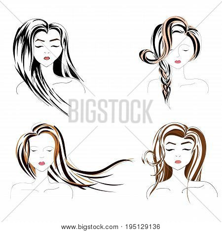 Set of the woman hairstyles, popular styles. Logo for barber or on the bootle with shampoo