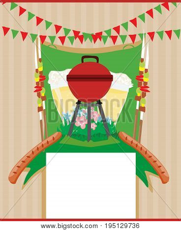 Barbecue Party Invitation card , vector illustration