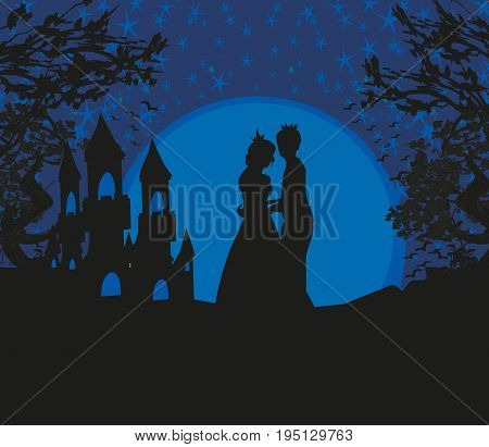 Magic castle and princess with prince , vector illustration
