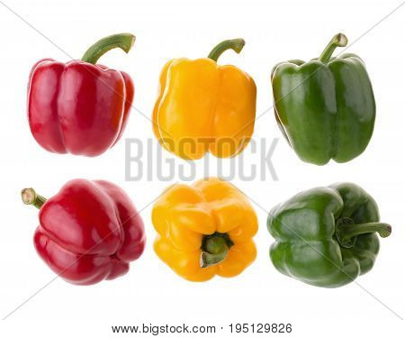 Yellow Red And Green Pepper Shooted Isolated On A White Background