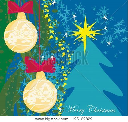 Abstract card with Christmas tree , vector illustration