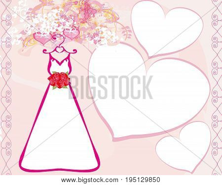 Invitation template with beautiful wedding dress , vector illustration