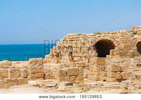 Roman falled stone buildin in caesarea Archaeological site close to Herod the Great hippodrome