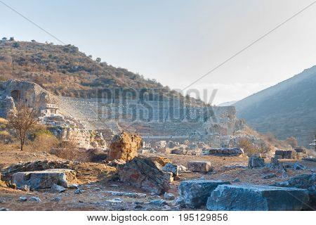 Roman stone amphitheater ruins panorama in ephesus Archaeological site in turkey