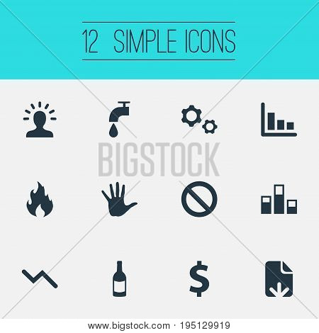 Vector Illustration Set Of Simple Situation Icons. Elements Regress, Prohibited, Info Graph And Other Synonyms Chart, Warning And Solution.
