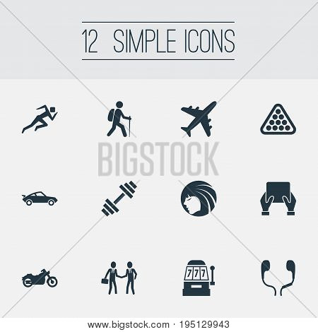 Vector Illustration Set Of Simple Health Icons. Elements Vintage Automobile, Leisure, Jogging And Other Synonyms Climbing, Backpacker And Retro.