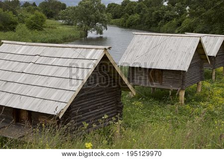 Old Russian wooden houses and structures Russia