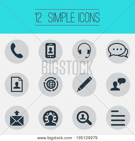 Vector Illustration Set Of Simple Contact Icons. Elements International Job, Resume, Chat And Other Synonyms Handset, Resume And Selfie.