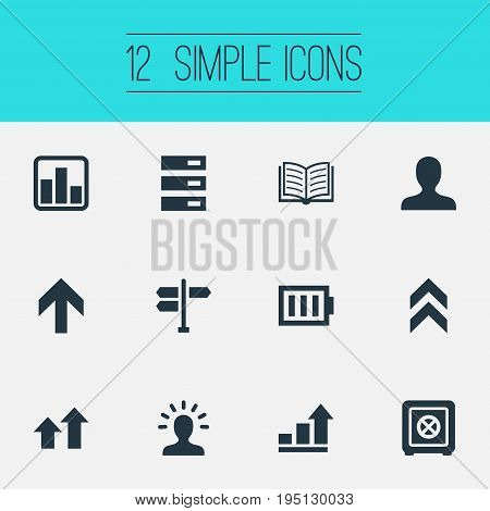 Vector Illustration Set Of Simple Teamwork Icons. Elements Signpost, Upward Direction, Analytics And Other Synonyms Database, Upward And Wisdom.
