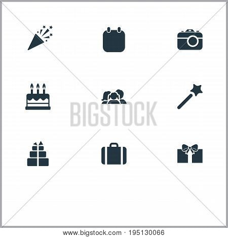 Vector Illustration Set Of Simple Holiday Icons. Elements Handbag, Pastry, Calendar Synonyms Mates, Surprise And Photo.