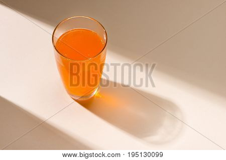 Soft Drink. A Glass Of Orange Soda With Ice