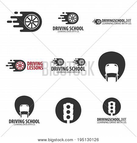 Driving School Logos And Emblems Template. Auto Education. Vector Illustration.