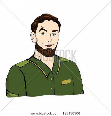 Forester, military with the hairstyle in green jacket, shirt