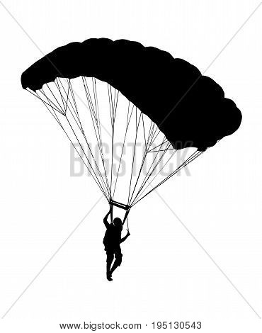Side Profile Silhouette Of Sky Diver With Open Parachute