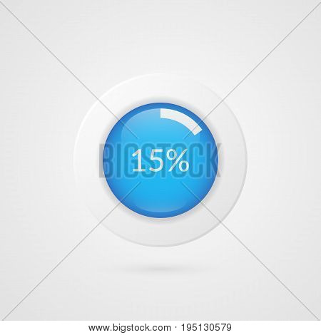 15 percent blue white pie chart. Percentage vector infographics. Fifteen Circle diagram isolated symbol. Business illustration icon for marketing presentation project data report information plan web design