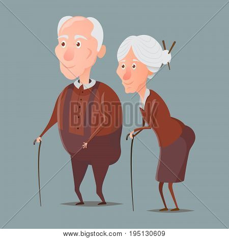 Cartoon old grandmother and grandfather walking with sticks and smiling. Vector characters