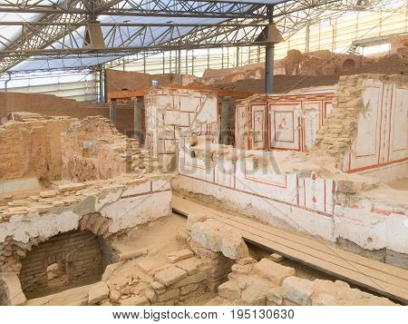 Roman stone terraced houses room with decorated walls in ephesus Archaeological site in turkey