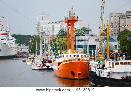 Kaliningrad Russia - July 8 2017: Last floating lighthouse Irbensky in a port of Kaliningrad