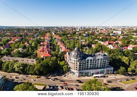 Kaliningrad, Russia - July 04 2017: Aerial view of the modern district of Kaliningrad in summer