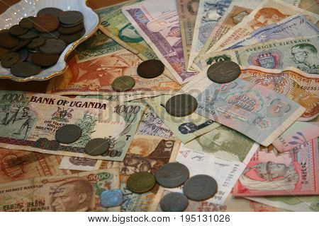 money banknote and coin. many conutry and currency system.
