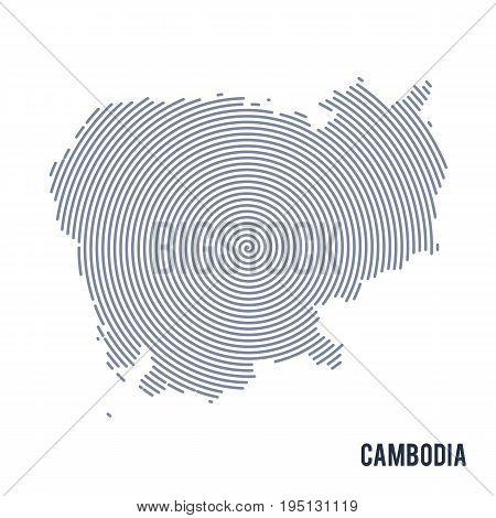 Vector Abstract Hatched Map Of Cambodia With Spiral Lines Isolated On A White Background.