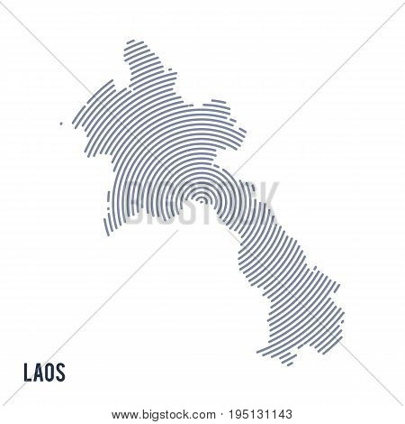 Vector Abstract Hatched Map Of Laos With Spiral Lines Isolated On A White Background.
