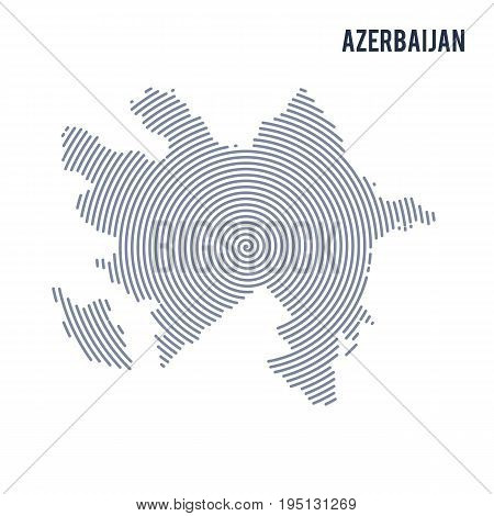 Vector Abstract Hatched Map Of Azerbaijan With Spiral Lines Isolated On A White Background.