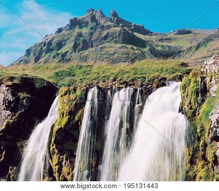 Waterfall in Mountainous Area