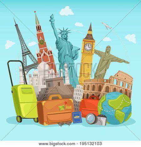 Travel poster design with different world landmarks. Vector illustration. World landmark famous