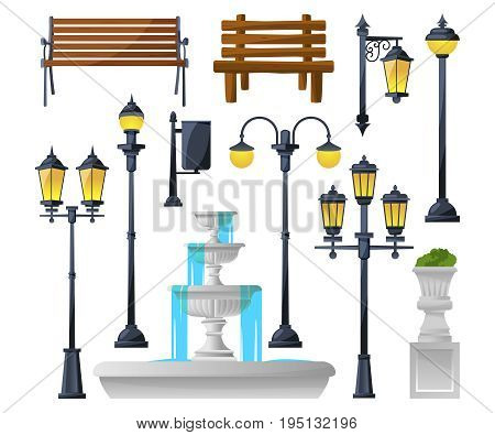 Urban elements set. Street lamps, fountain, park benches and wastebaskets. Vector illustration. Park street lamp and wooden bench and lantern light, fountain and trashcan