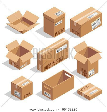 Opening and closed cardboard boxes. Isometric cardboard box open and closed for delivery and packaging illustration set vector