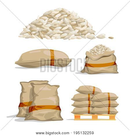 Different sacks of white rice. Food storage vector illustration. Grain rice in bag, sack with rice