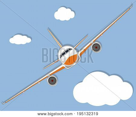 Aviation poster with jet airplane in sky. Commercial air shipment, fast freight delivery, global transportation. Worldwide tourist and business flights, low cost airline banner vector illustration.