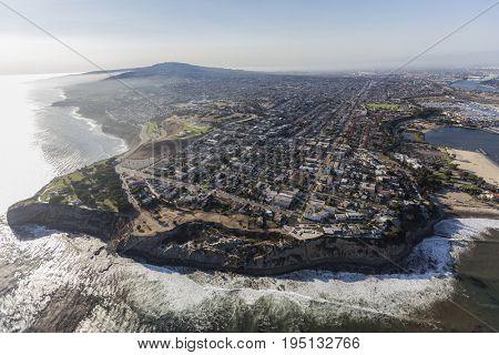 Aerial view of the San Pedro coastline in Los Angeles, California.