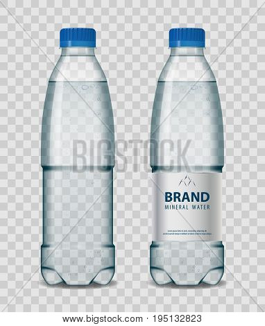 Plastic bottle with mineral water with blue cap on transparent background. Realistic vector illustration. EPS 10